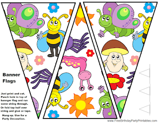 Free Bug Birthday Party Printables- Flag Bunting Banner