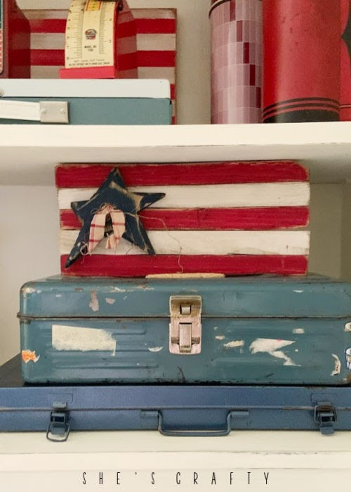 Vintage Farmhouse Home decor - vintage tool boxes, handmade wooden flag, vintage thermos
