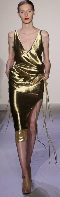 Then & Now ~ Gold Evening Gown with a V-Neck