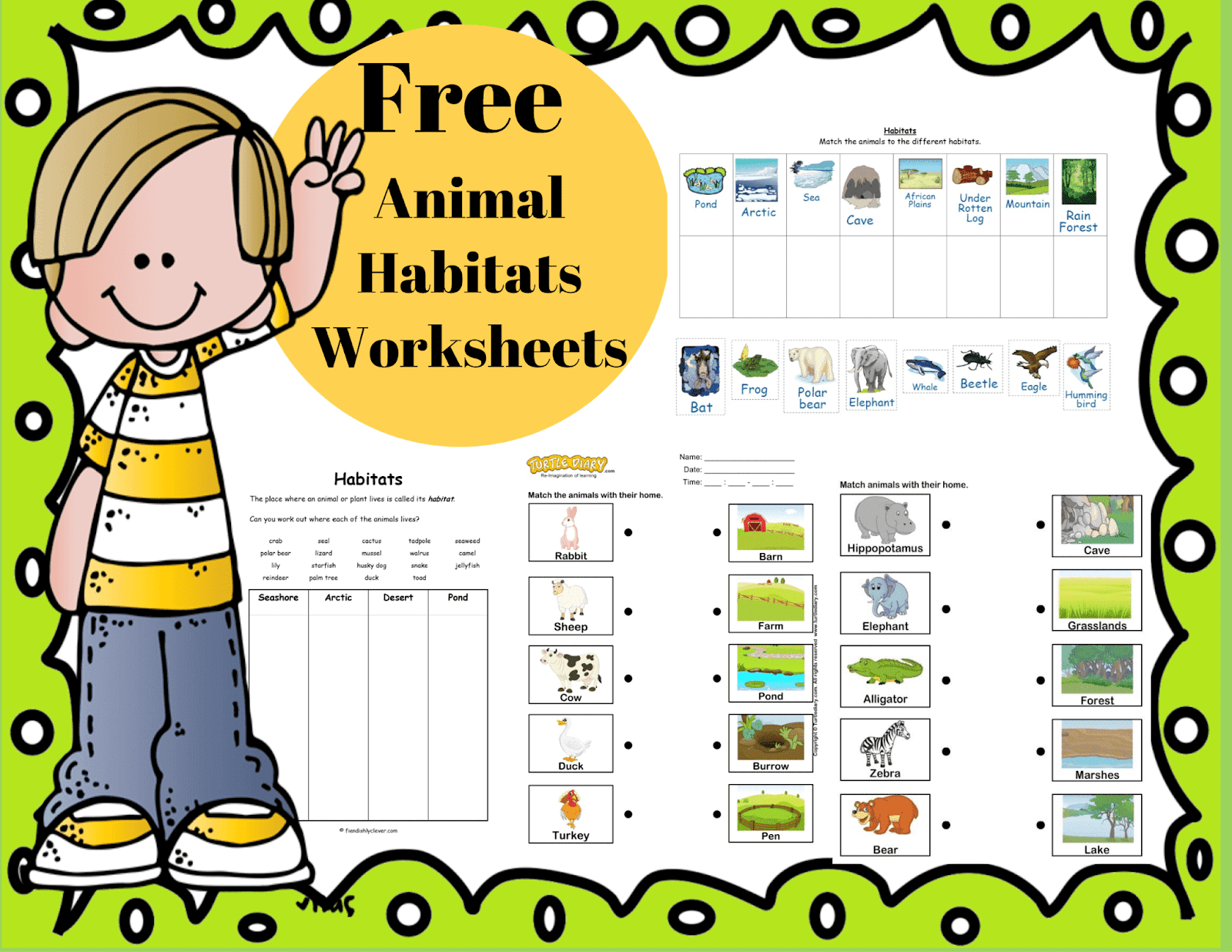 The Best 10 Animal Habitats Worksheets and Song [ 1236 x 1600 Pixel ]