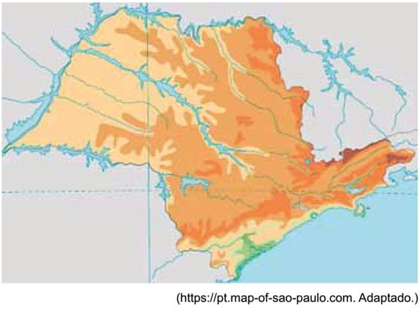Mapa hipsométrico do estado de São Paulo