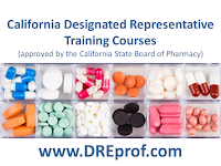 California Designated Representative Training Courses (wholesaler, 3PL, reverse distributor). Earns a training affidavit accepted by the California State Board of Pharmacy.