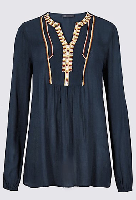 Marks and spencer embroidered notch long sleeve blouse
