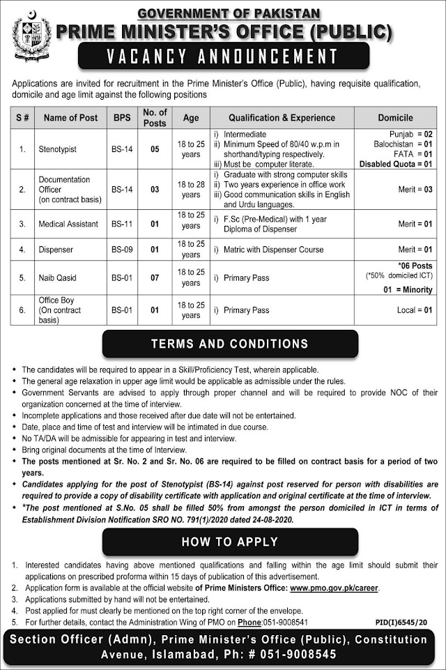 Government Of Pakistan Prime Minister's Office Public Jobs 2021 For Medical Assistant, Documentation Officer And Many More