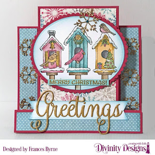Stamp Set: Christmas Birdhouses, Custom Dies: Center Step Card With Layers, Christmas Dove (snowflakes), Christmas Greetings, Ovals, Scalloped Ovals  Paper Collection: Christmas 2014