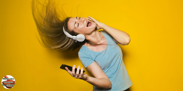 "Featured in the article: ""Music & Personality Development - Can Music Help Us Build Our Personality?"" Listening to Uplifting Music Can Make You Happier. happy girl listening to music"
