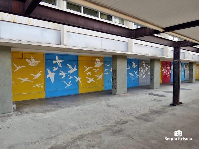 Vista dos Grafites pintados nas paredes laterais da Etec de Artes - Parque da Juventude - Santana - São Paulo