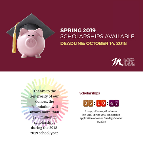 Poster featuring a pink piggy bank wearing a graduation cap.  Text: Spring 2019 scholarships available.  Deadline Oct. 14, 2018.  Text: Thanks to the generosity of our donors the Foundation will award more than 2.5 million in scholarships during the 2018-19 school year