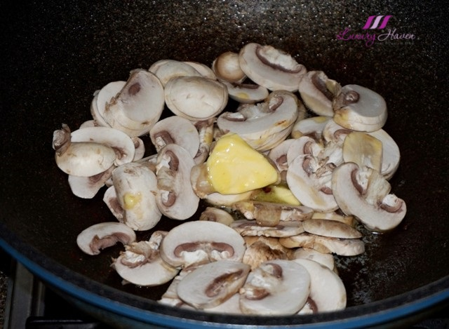 stir fried buttered white button mushrooms