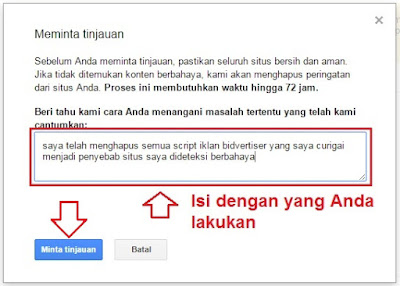 Cara menghilangkan peringatan : the site ahead contains harmful programs pada Blog dan browser Meminta Tinjauan di Google Webmaster