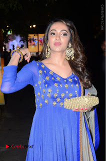 Telugu Actress Tejaswi Madivada Pos in Blue Long Dress at Nanna Nenu Na Boyfriends Audio Launch  0042.JPG