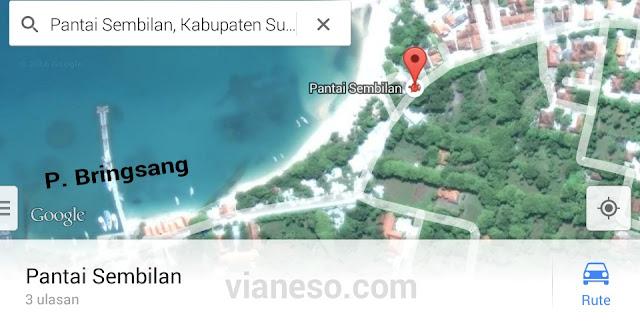 rute jalan lokasi Pantai Sembilan Pulau Gili Genting
