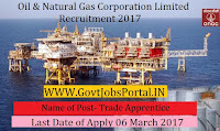 Oil and Natural Gas Corporation Limited Recruitment 2017– 114 Trade Apprentice