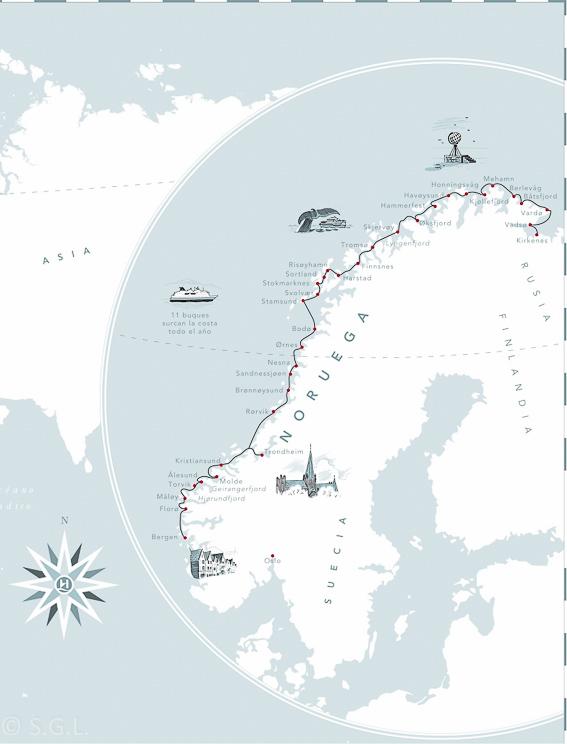 Recorrido del Hurtigruten, de crucero por el litoral noruego