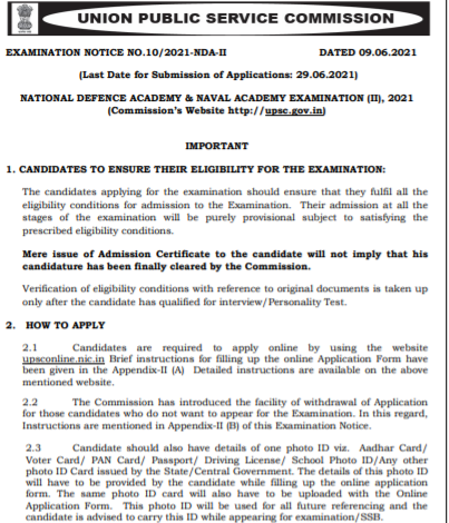 UPSC NDA Recruitment 2021 Apply Online