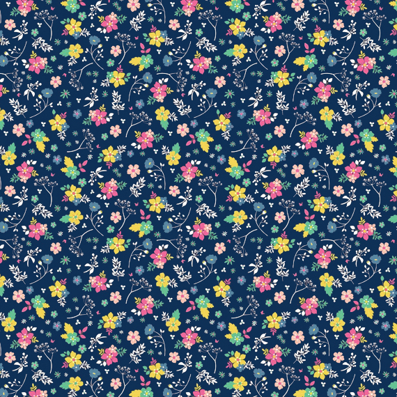floral patterns, ditsy prints, pantone colors lapis blue, primrose yellow