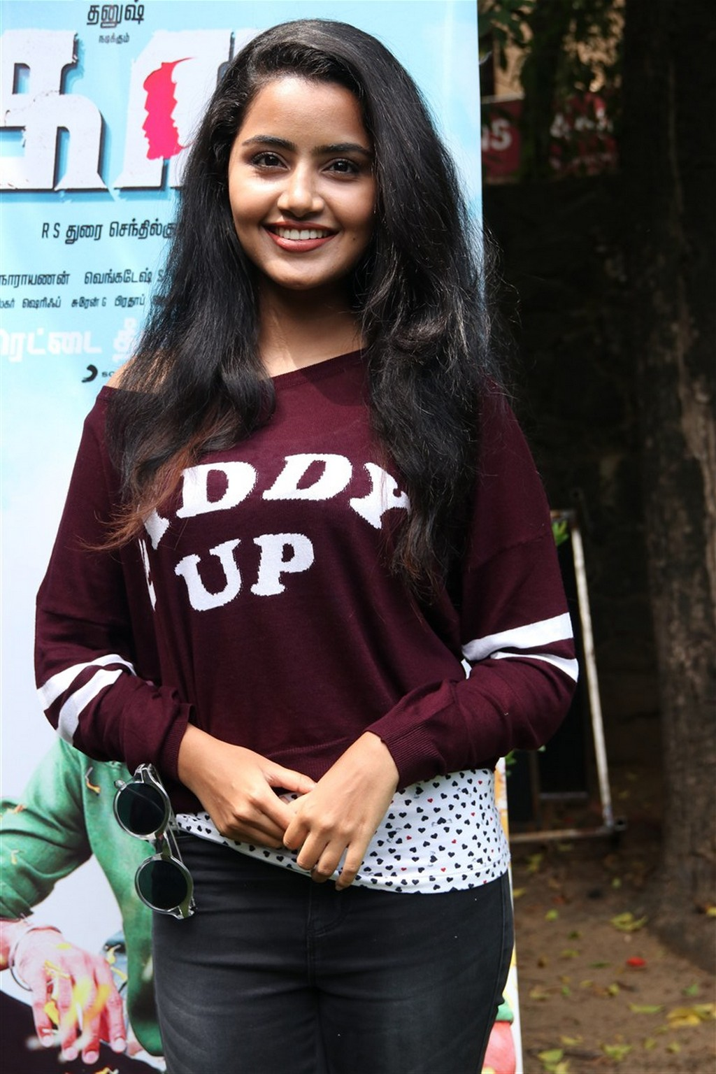 South Indian Bubbly Girl Anupama Parameshwaran Photos In Maroon Dress