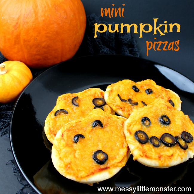 Halloween mini pumpkin pizza - an easy recipe for a kids cooking activity.