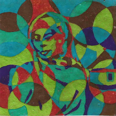 Multi coloured cubism painting of an African woman