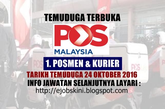 Temuduga Terbuka di Pos Malaysia Berhad  Oktober 2016