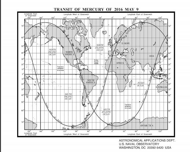 מפת צפייה עולמית במעבר מרקורי 2016
