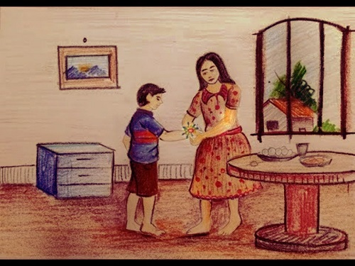 rakhi drawing brother sister image