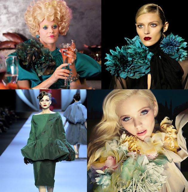 The Hunger Games - fashion and costumes - In senso orario/Clockwise: Miss Effie Trinket; Gucci FW2011; Gucci Flora Perfume; Dior HC SS2011