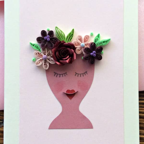quilled lady vase card (detail)