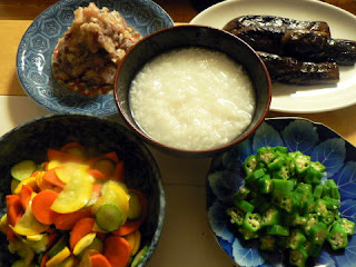 オヤジ定食5 鯵味噌 ズッキーニお新香 ナスごま油炒め オクラ