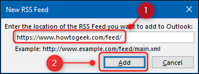 Dans la fenêtre « Nouveau flux RSS » qui apparaît, entrez l'adresse de flux du site web ou du blog que vous souhaitez suivre, puis cliquez sur « Ajouter ».