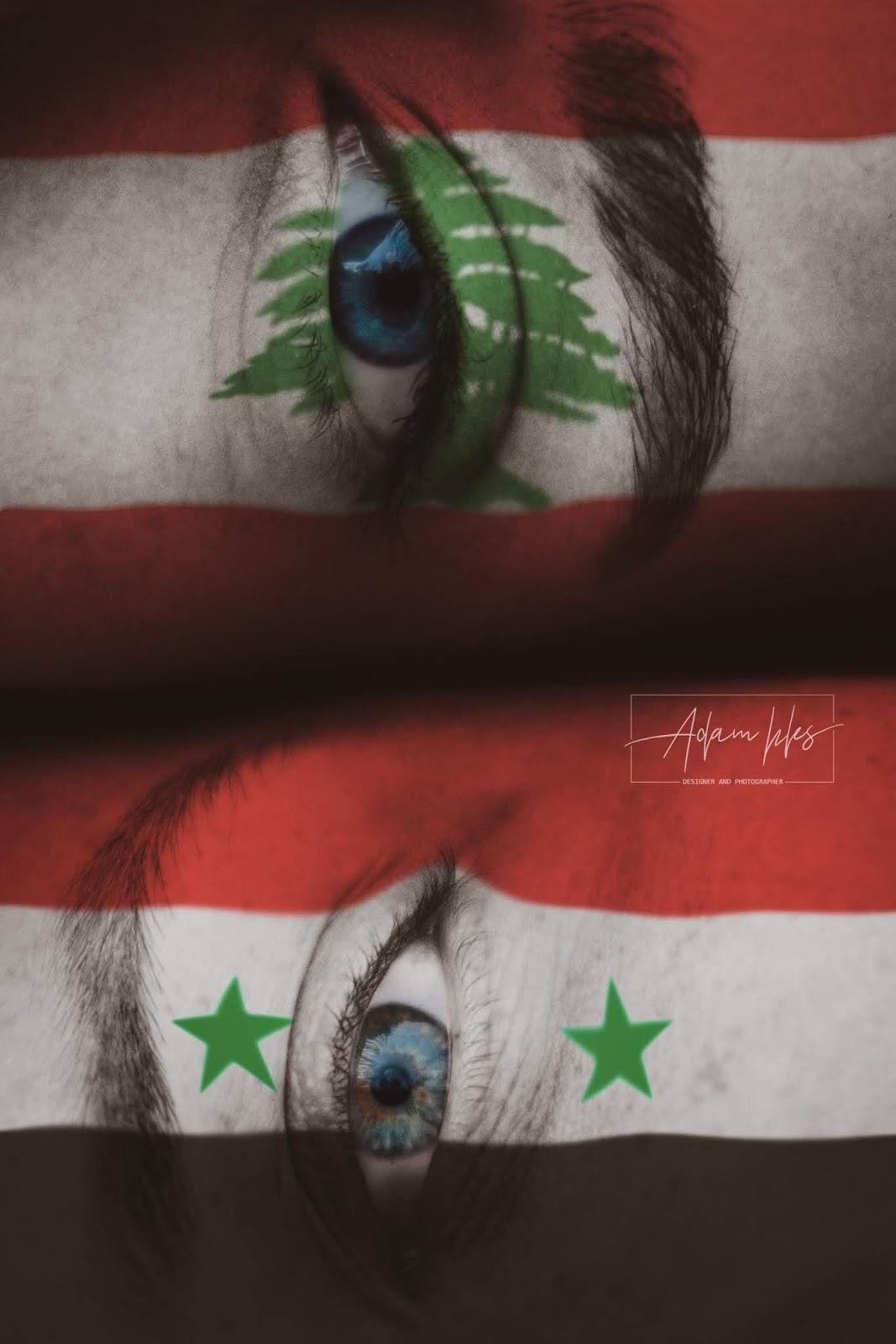 علم سوريا وعلم لبنان