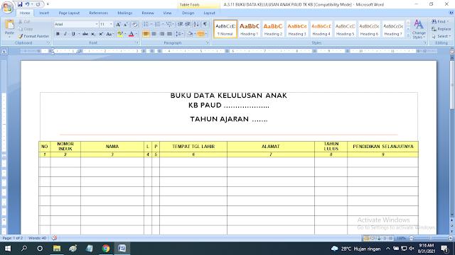 Download Contoh Buku Data Kelulusan Anak PAUD TK KB RA