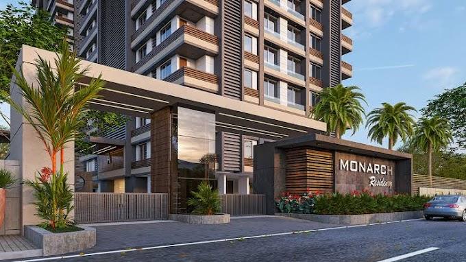 बिल्डिंग कंपनी द्वारा सूरत के पालनपुर क्षेत्र में मोनार्क रेजीडेंसी परियोजना। Monarch Residency Project at Palanpur area of Surat by Building Company.