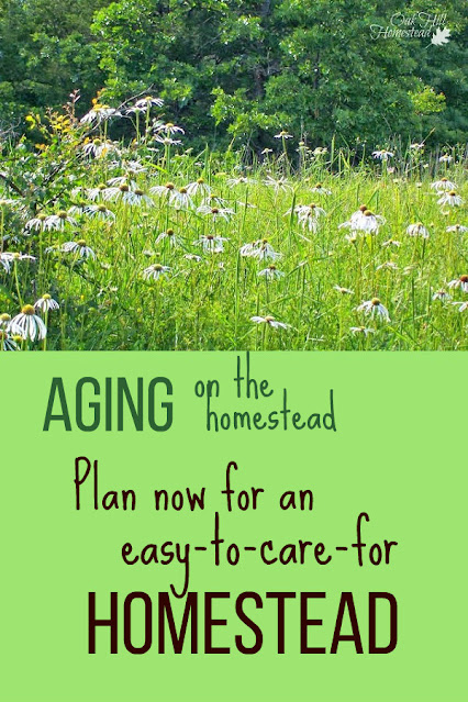 Homesteading in your senior years - start planning now for a homestead that's easy to maintain and care for as you grow older. #homesteading #aging