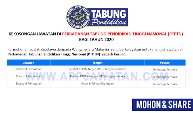 Jawatan Kosong Terkini di Perbadanan Tabung Pendidikan Tinggi Nasional (PTPTN).