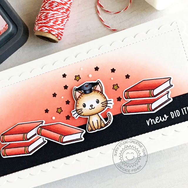 Sunny Studio Stamps: Grad Cat Frilly Frame Dies Graduation Card by Candice Fisher