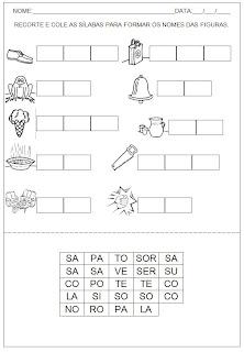 Hipótese de Escrita Silábica Alfabética - Recorte as sílabas e forme palavras