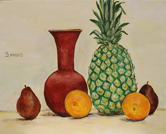 still-life, pineapple, sarah, myers, vase, pear, oranges, acrylic, painting, fruit, ceramic, exuberant, amy, myers, canvas, large, shapes, round, earthenware, terracotta, contemporary, art, arte, kunst, pintura, maleri, natura, morte, figurative, classical, representative, bright