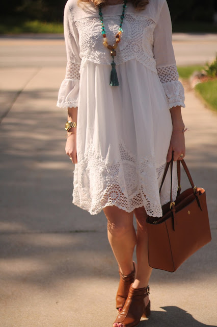White boho summer dress, mules, Tory Burch tote, tassel necklace, summer essentials, tote bag,