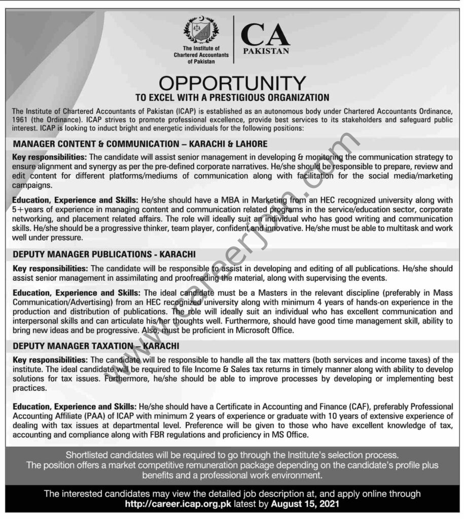 The Institute Of Chartered Accountants Of Pakistan ICAP Jobs August 2021