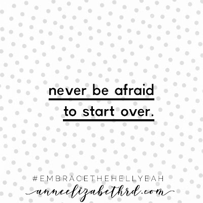 """Never Be Afraid to Start Over"" in black letters with a grey polka dot background inspirational quote."