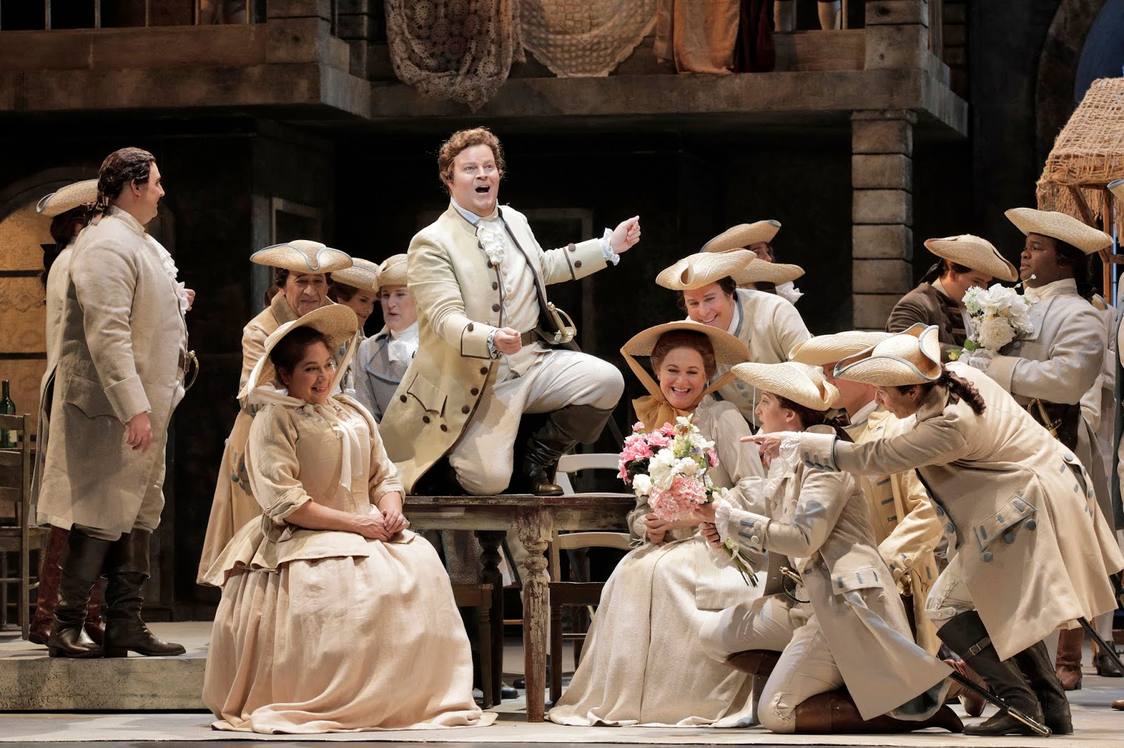 IN REVIEW: tenor CHRISTOPHER OGLESBY as Edmondo (center) in San Francisco Opera's November 2019 production of Giacomo Puccini's MANON LESCAUT [Photograph by Cory Weaver, © by San Francisco Opera]