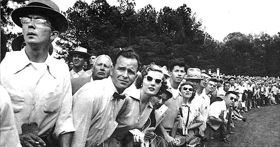 1950s sports crowd, a photograph