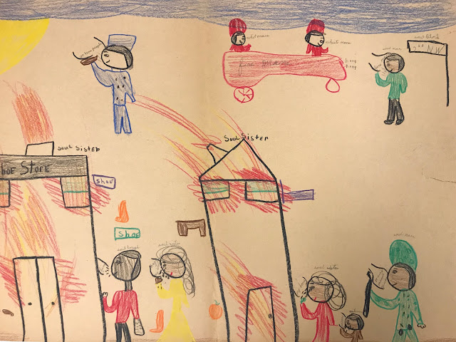"""Colorful crayon drawing, authored by an elementary student, depicts Black community members mourning the loss of their stores and a police vehicle with occupants labelled as """"white men"""". Notice the tops of the storefronts, which read """"soul sister"""" and """"soul brother."""""""
