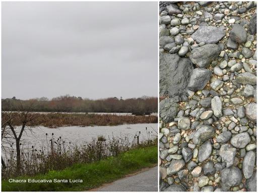 Cielo gris y espejo de agua / Piedras - Chacra Educativa Santa Lucía