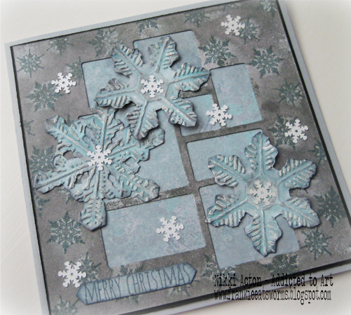Addicted to Art - Tim Holtz Snowflake Duo and Mosaic Christmas Card