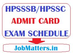 image: HPSSSB/HPSSC Admit Card 2020 Exam Schedule @ JobMatters
