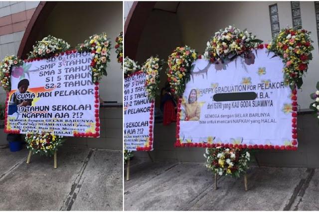 """Ganggu Suami Orang, Mahasiswi S2 Dapat Karangan Bunga Dari Istri Sah: """"Happy Graduation for Pelakor, dari Istri yang Kau Goda Suaminya"""""""