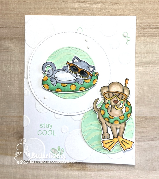 Stay cool by Debbie features Newton's Summer Vacation, Dog Days of Summer, Circle Frames, and Waves by Newton's Nook Designs; #inkypaws, #newtonsnook, #summercards, #catcards