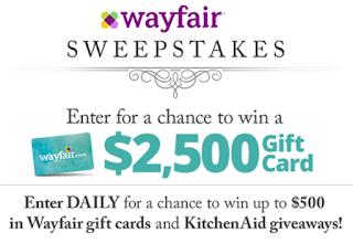 Wayfair Gift Card Giveaway 52 Winners Win 50 100 250 Or 500